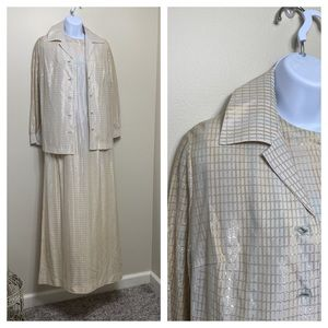 1950s metallic gown with jacket